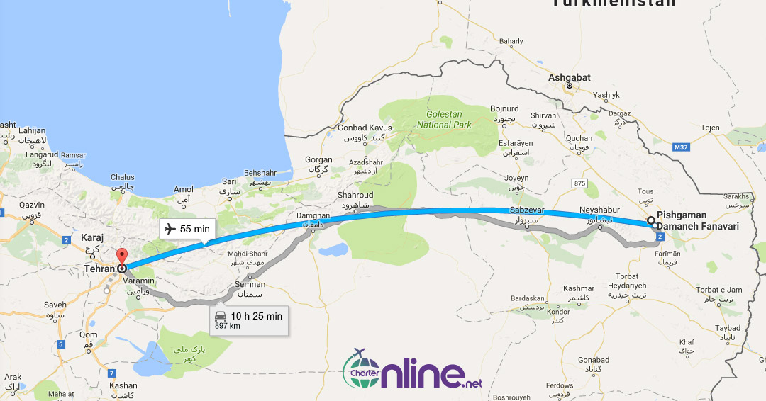 بلیط چارتری مشهد به تهران