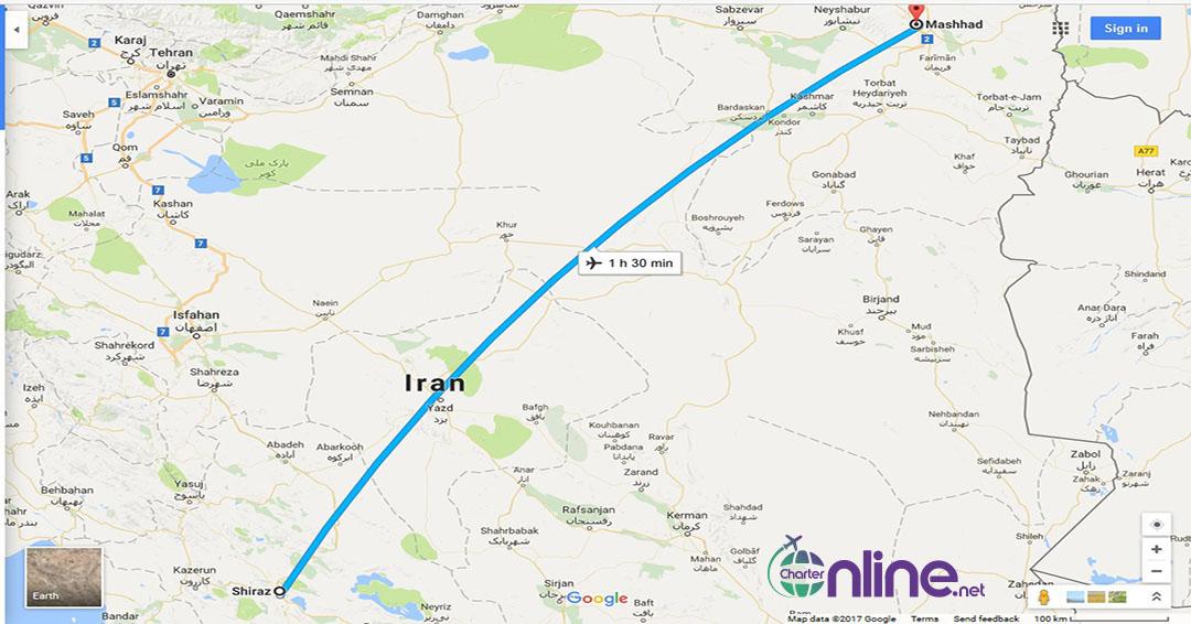 بلیط چارتری شیراز به مشهد