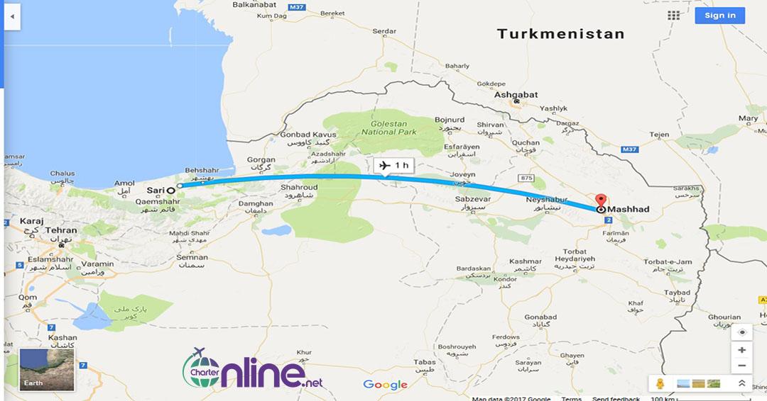 بلیط چارتری ساری به مشهد