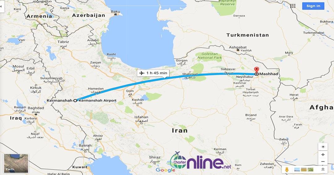 بلیط چارتری مشهد به کرمانشاه