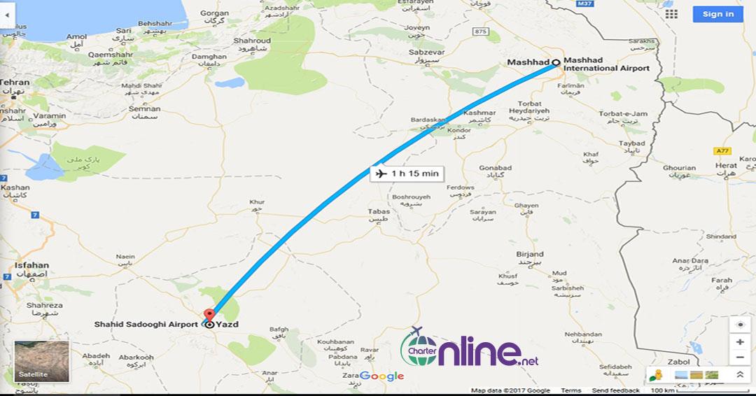 بلیط چارتری یزد به مشهد