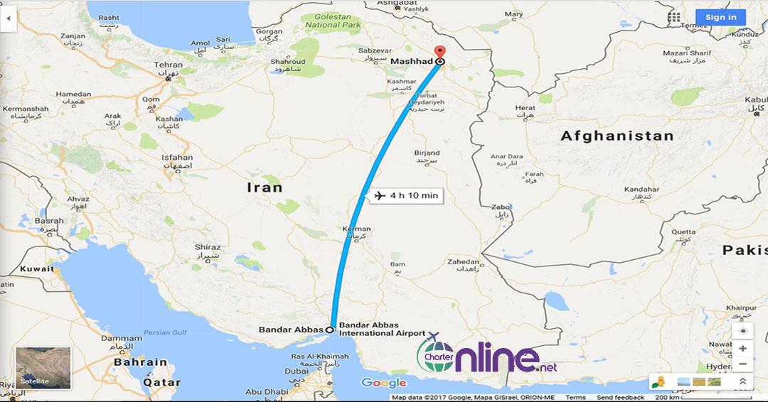 بلیط چارتری بندر عباس به مشهد