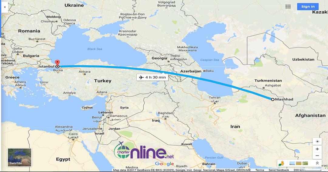 بلیط چارتری مشهد به استانبول