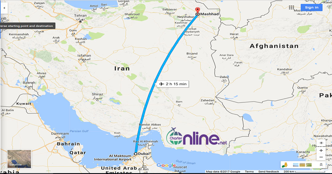 بلیط چارتری دبی به مشهد