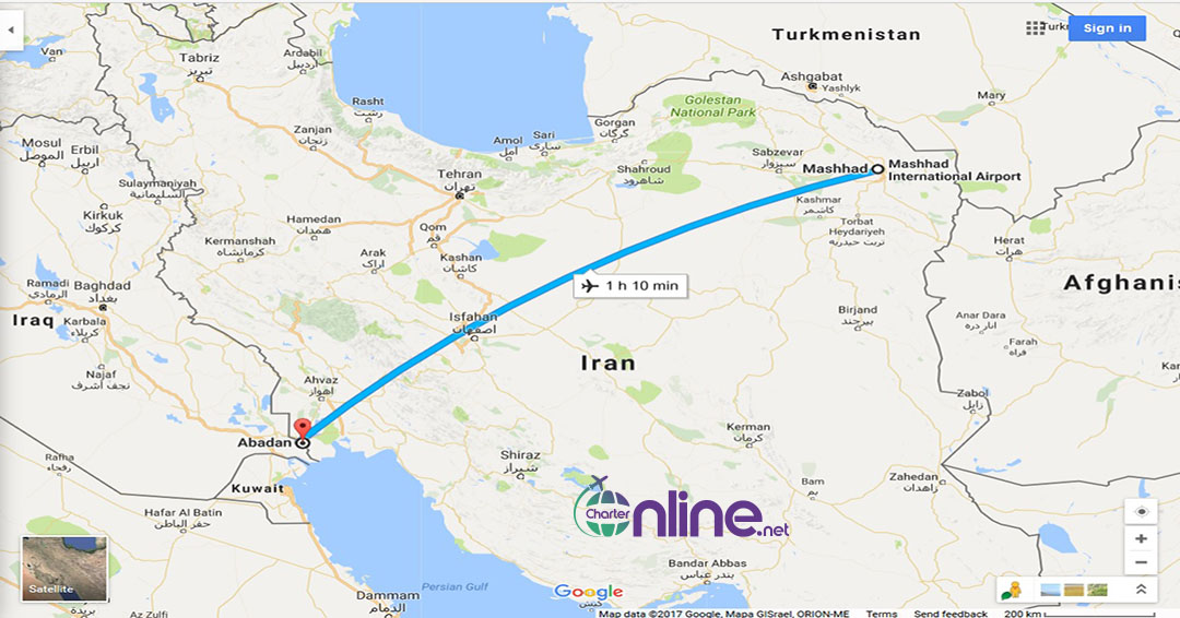 بلیط چارتری آبادان به مشهد