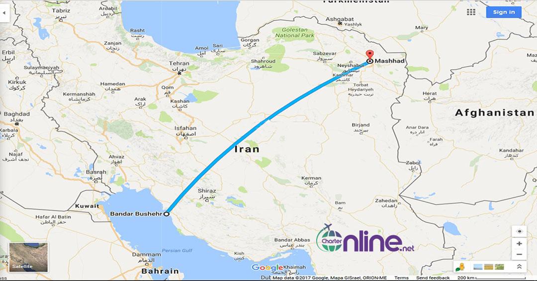 بلیط چارتری مشهد به بوشهر