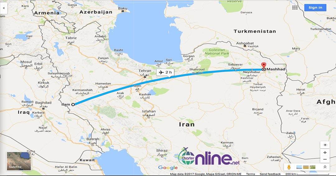 بلیط چارتری مشهد به ایلام