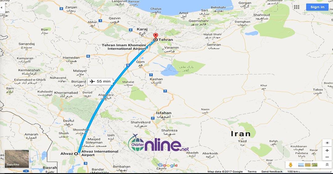 بلیط چارتری تهران به اهواز