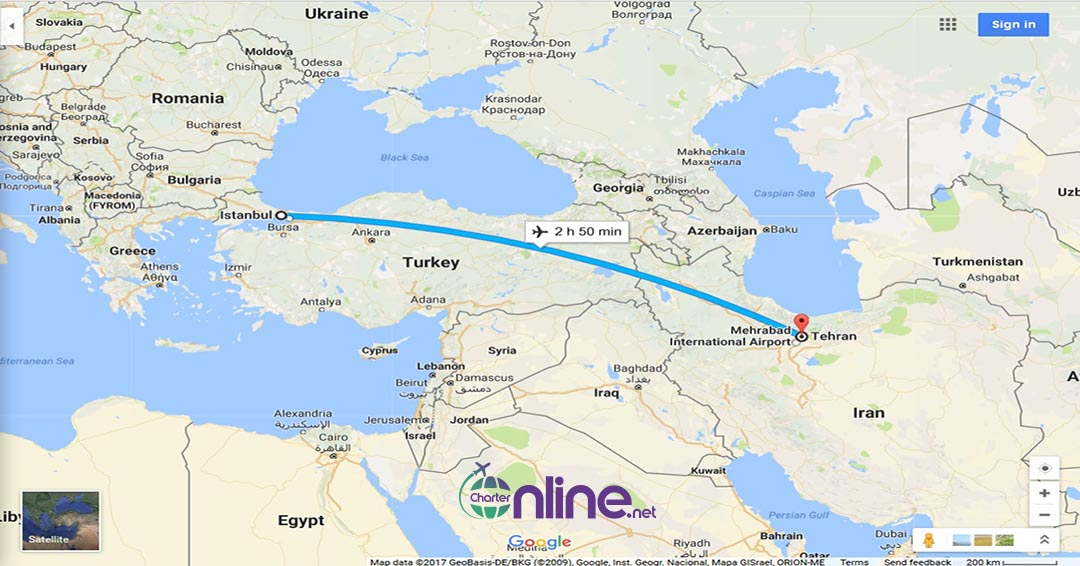 بلیط چارتری تهران به استانبول