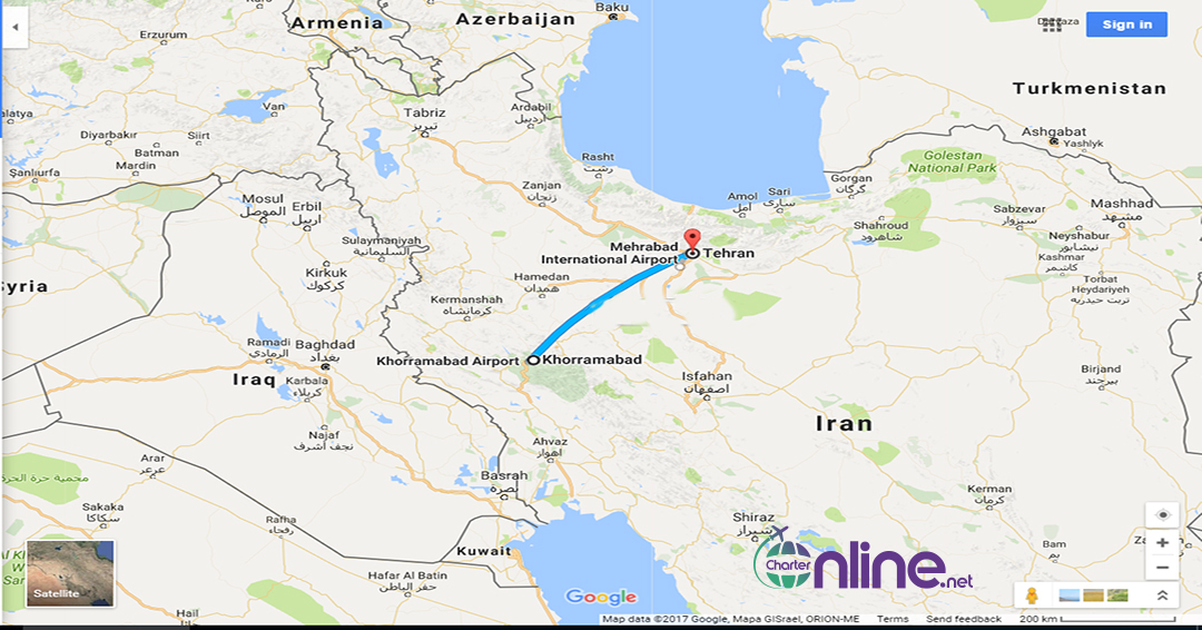 بلیط چارتری تهران به خرم آباد
