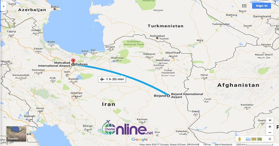 بلیط چارتری تهران به بیرجند