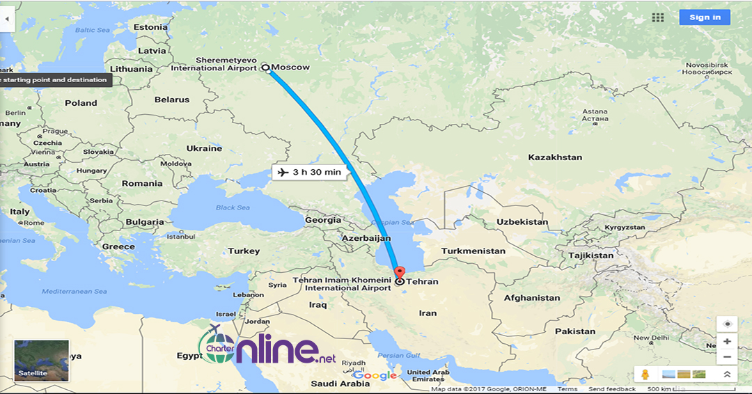 بلیط چارتری مسکو به تهران