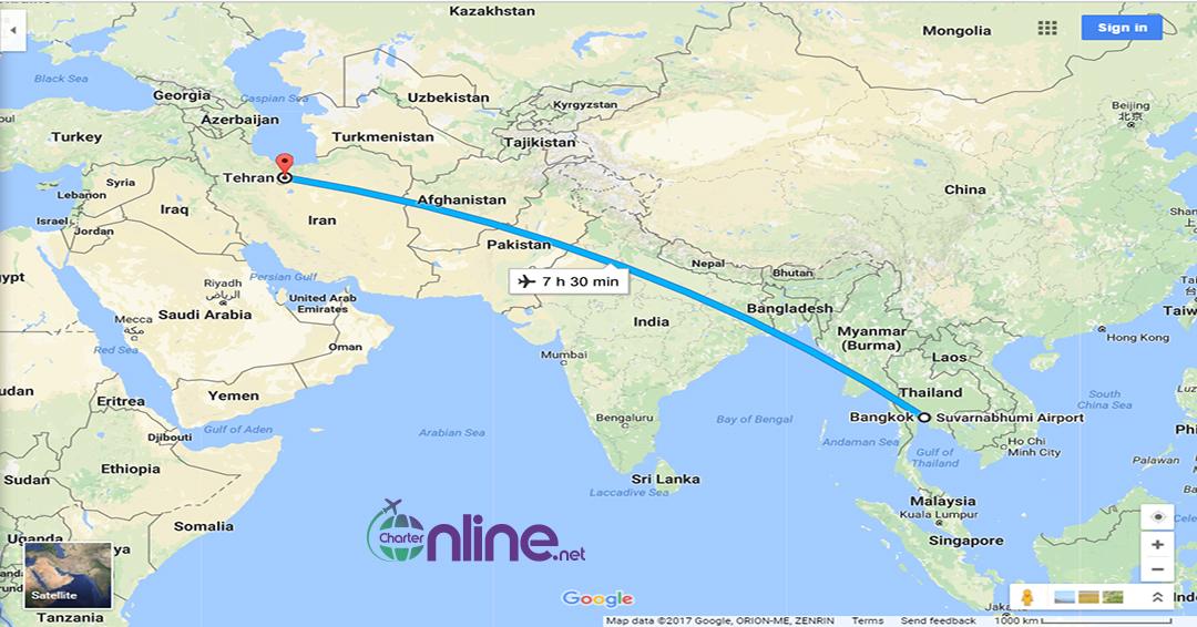 بلیط چارتری بانکوک به تهران