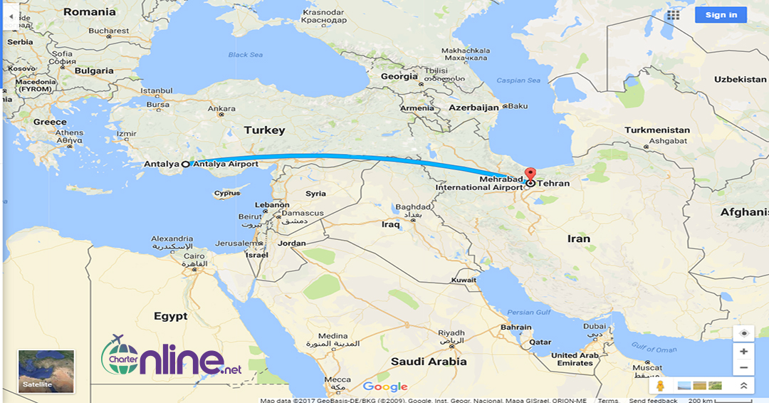 بلیط چارتری آنتالیا به تهران