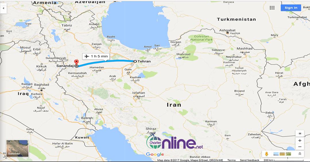 بلیط چارتری تهران به سنندج
