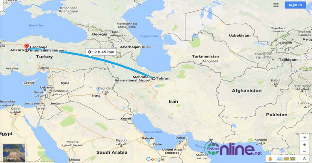 بلیط چارتری آنکارا به تهران