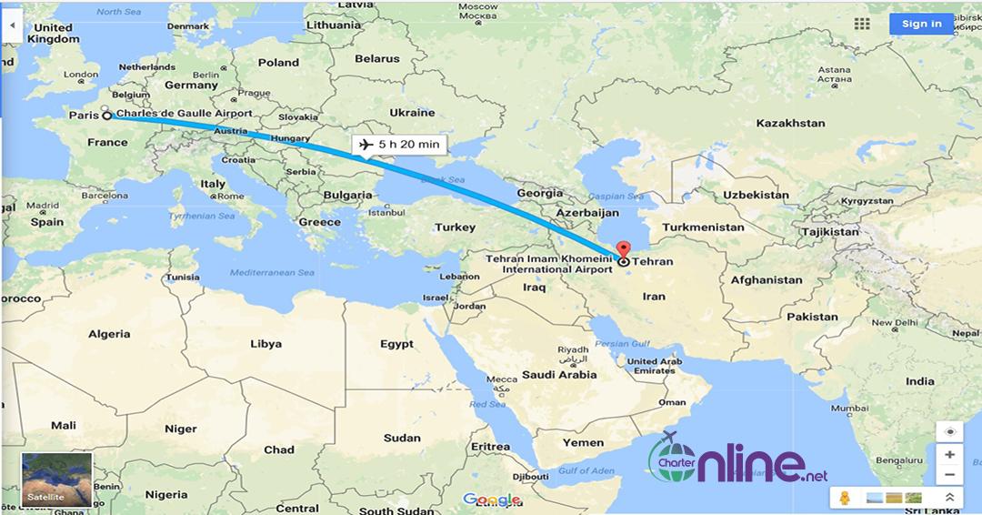 بلیط چارتری تهران به پاریس