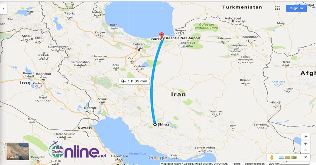 بلیط چارتری ساری به شیراز