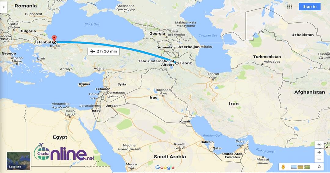 بلیط چارتری استانبول به تبریز