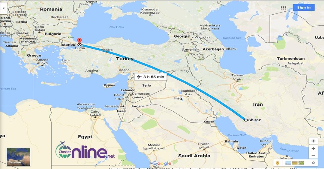 بلیط چارتری استانبول به شیراز