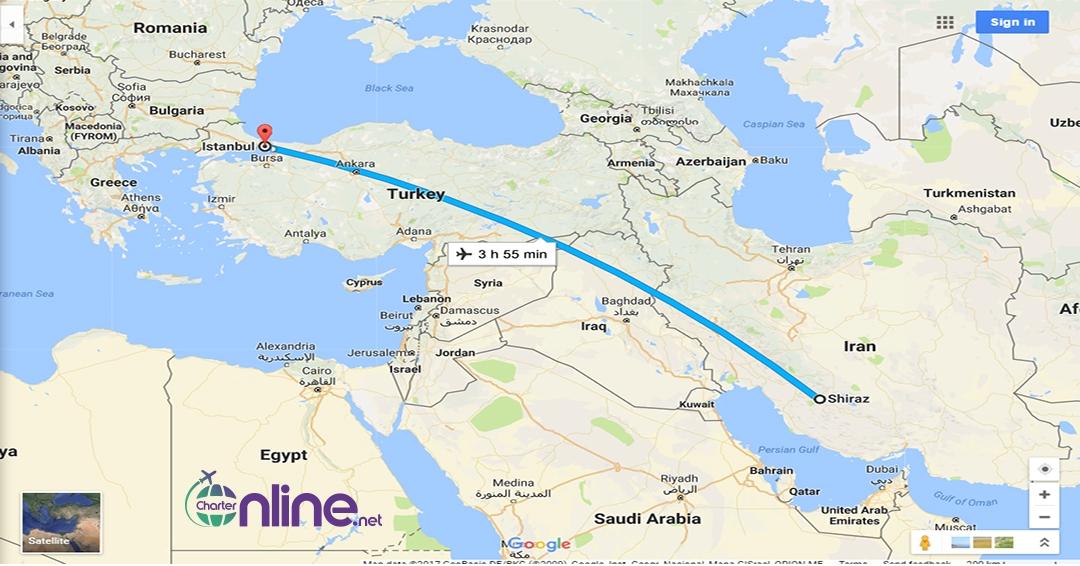 بلیط چارتری شیراز به استانبول
